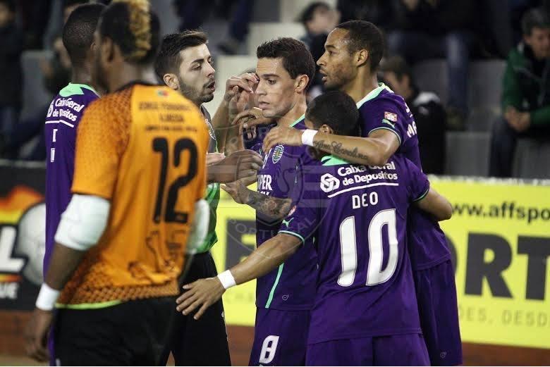Comemoração da equipa leonina, após marcar mais um golo. Fonte: Sporting.pt