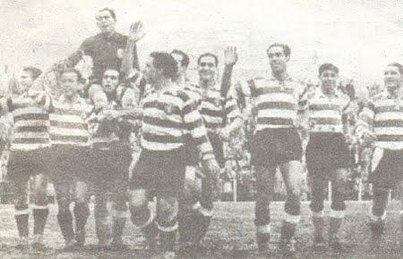A ombros dos seus companheiros Fonte: centenariosporting.com