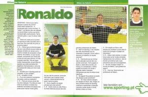 """""""Aos 15 anos, Cristiano Ronaldo deu a conhecer numa entrevista a sua admiração por Pedro Barbosa"""" Fonte: sportingautentico.blogspot.com"""