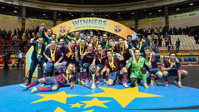 Festejos da equipa catalã depois de vencer a Uefa Futsal Cup. Fonte: uefa.com