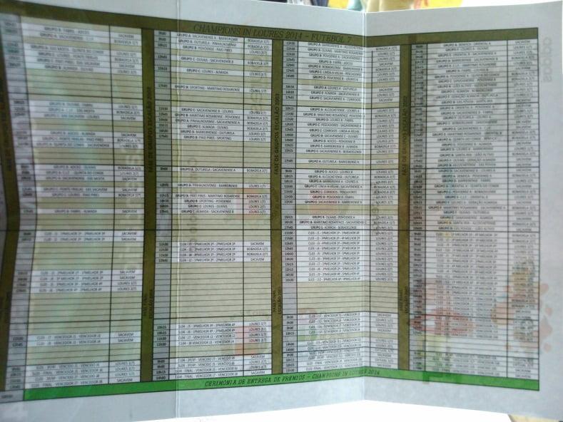 Legenda: Calendário dos jogos de Futebol de 7. Fonte: JC