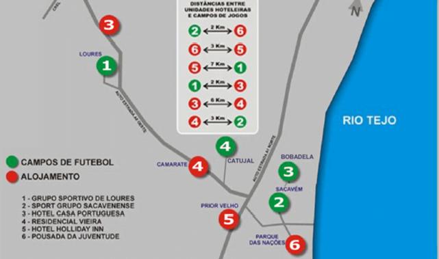 Legenda: Localização dos recintos do torneio. Fonte: championsinloures.pt
