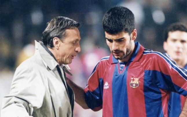 Johan Cruijff e Pep Guardiola: dois responsáveis pelo sucesso de La Masia  Fonte: Vavel.com
