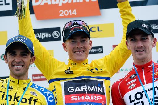 O pódio do Critérium du Dauphiné 2014  Fonte: TV5