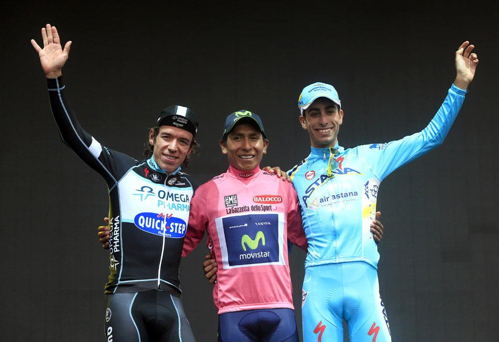 Nairo Quintana e Rogoberto Uran - dois colombianos nos dois primeiros postos da classificação geral  Fonte: www.cyclingweekly.co.uk
