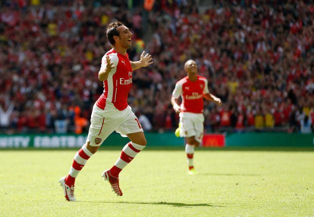 Santi Cazorla, de pé esquerdo, abriu o marcador em Wembley  Fonte: newstimes.com