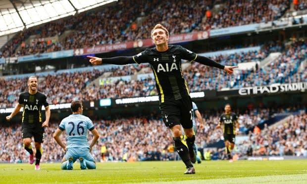 Eriksen fez o único golo do Tottenham na partida  Fonte: The Guardian