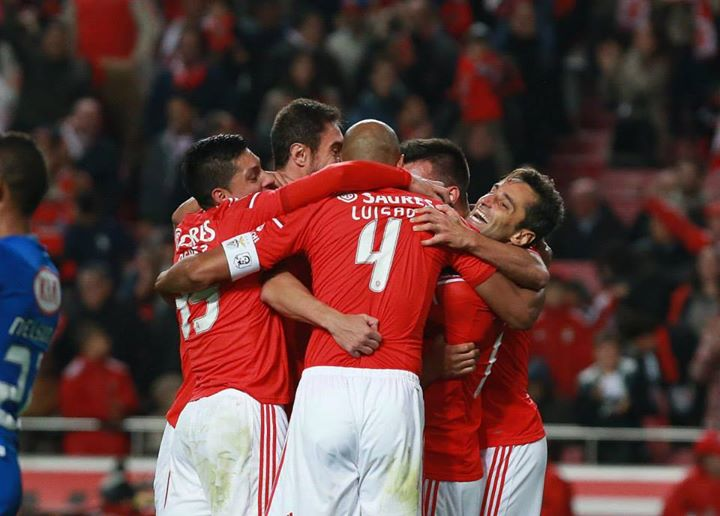 Festejo do primeiro golo benfiquista, após o desbloqueio do marcador Fonte: Facebook Benfica