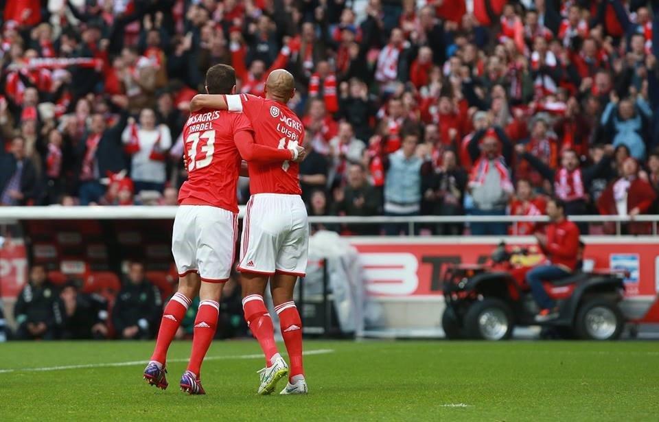 Luisão e Jardel, a imagem de uma dupla que cada vez funciona melhor; Fonte: Facebook do Sport Lisboa e Benfica