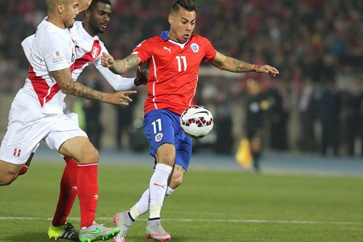 Vargas apontou dois golos e gravou o seu nome na história do Chile; Fonte: Facebook Seleccion Chilena