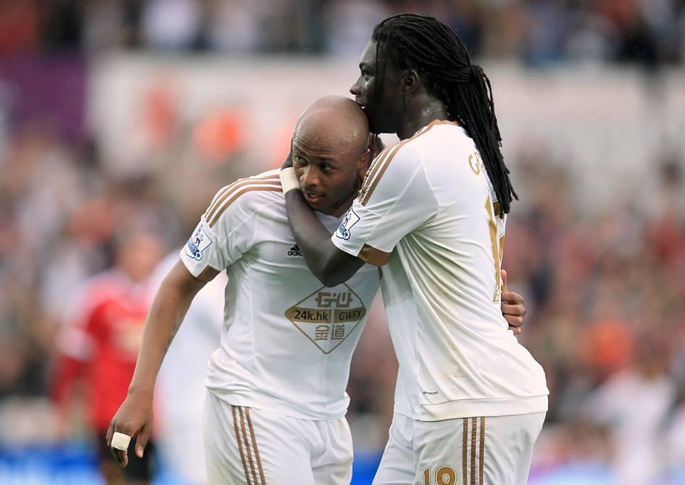 """Ayew e Gomis: a dupla de """"arquitectos"""" responsável pela construção de um sensacional Swansea neste início de época Fonte: Facebook do Swansea"""