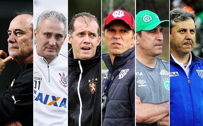 Os seis treinadores remanescentes(da esquerda para a direita): Levir Culpi, Tite, Eduardo Baptista, Milton Mendes, Vinicius Eutrópio e Gilson Kleina Fonte:  Infoesporte
