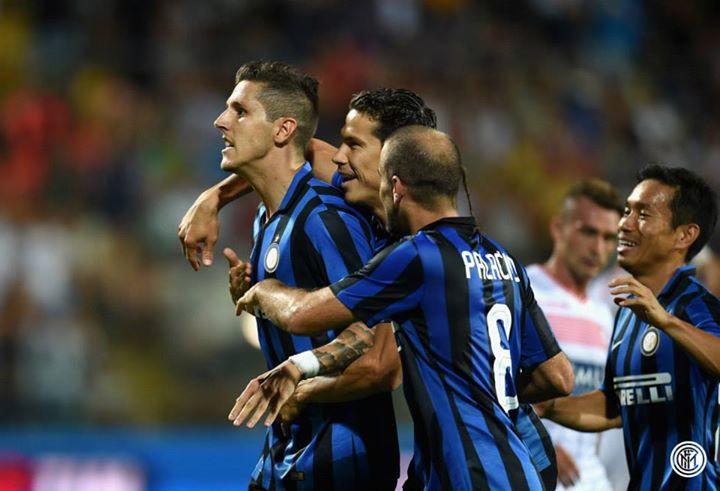 Jovetic mais uma vez a ser o herói, com dois golos frente ao Carpi Fonte: Facebook do Inter