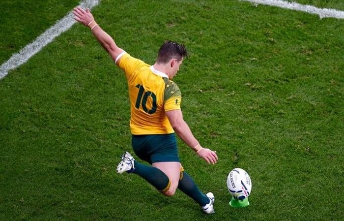 Foi com uma penalidade nos últimos quarenta segundos de jogo que Bernard Foley apurou os Wallabies para as meias-finais Fonte: Rugby World Cup