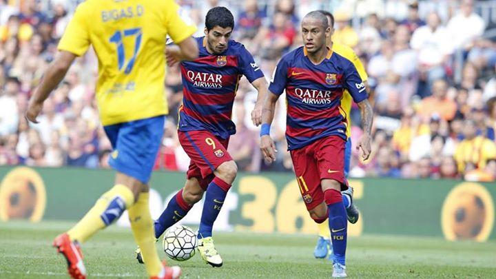 Neymar e Suárez juntos frente ao Las Palmas Fonte: FC Barcelona