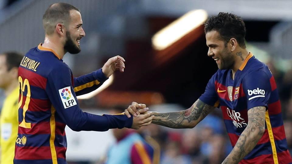 """Aleix Vidal """"discutirá"""" a titularidade na lateral direita com Dani Alves  Fonte: FC Barcelona"""