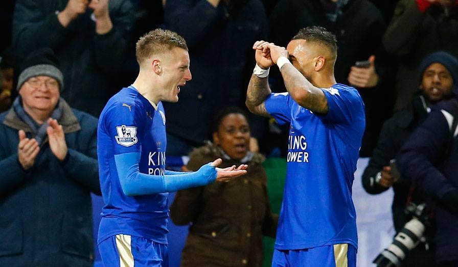 A dupla Vardy-Mahrez tem sido a mais prolífica do campeonato e já levam 32 golos no campeonato Fonte: Leicester City FC