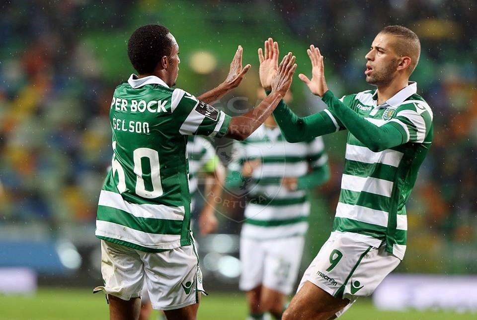 Desta vez foi o português que bisou. O argelino guardou os tiros para Braga Fonte: Sporting Clube de Portugal