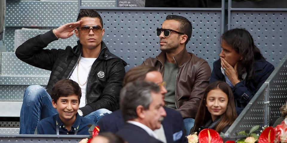 Cristiano Ronaldo não quis perder o encontro de João Sousa frente a Rafael Nadal Fonte: Facebook Oficial do Mutua Madrid Open