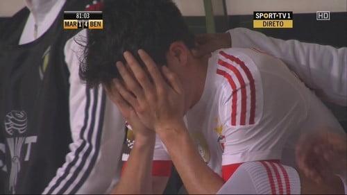 As lágrimas de Gaitán no seu último jogo pelo Benfica