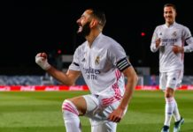 Benzema celebra primeiro golo do Real Madrid frente ao FC Barcelona