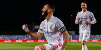Benzema celebra primeiro golo do Real Madrid frente ao FC Barcelona
