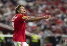 Darwin Núñez a celebrar um golo no estádio da luz